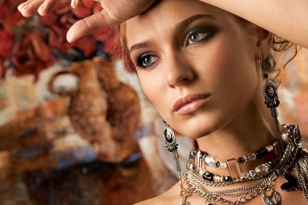 Glamorous Woman. A portrait of a glamorous woman wearing beautiful jewelery.