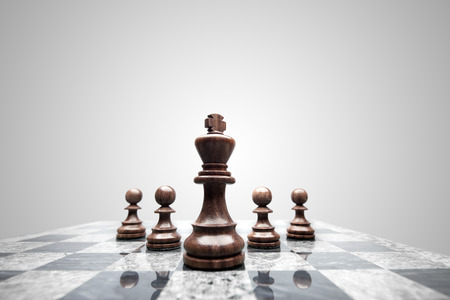 A squad of 5 chess pieces leaded by the king.