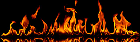 Fire flames on a black background.