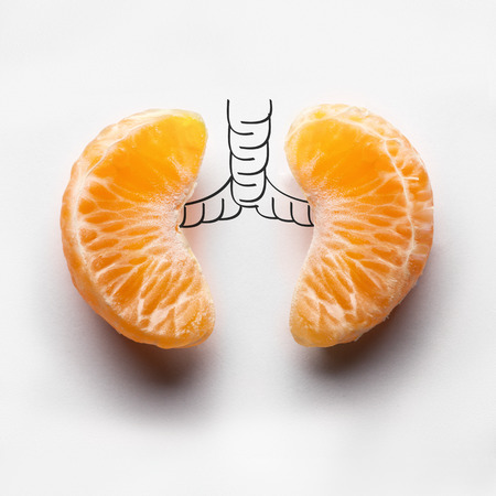 Photo pour A health concept of unhealthy human lungs of a smoker with lung cancer in dark shadows, made of mandarin segments. - image libre de droit