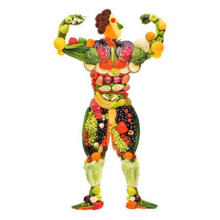 Fruits and vegetables in the shape of a healthy posing muscular bodybuilder.の写真素材