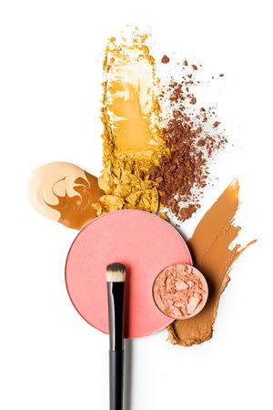 Photo for Creative concept photo of cosmetics swatches on white background. - Royalty Free Image