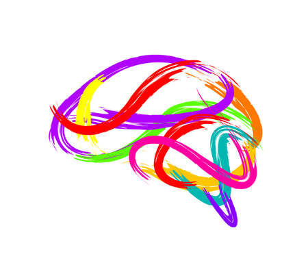 Ilustración de Abstract brain made of paint stroke as creative idea symbol. Icon design, illustration isolated on white background. - Imagen libre de derechos