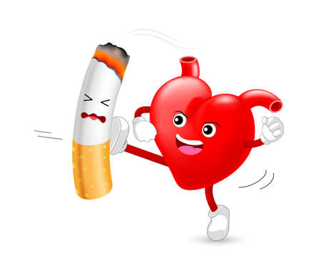 Illustration pour Heart character attacking the cigarette. Smoking is harmful to human heart. Resulting in organ damage and premature. World No Tobacco Day. - image libre de droit
