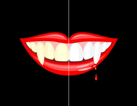 Illustration pour Vampire mouth with drops of blood. Before and after. Dental care concept.. Happy Halloween day. Vector illustration isolated on black background. - image libre de droit