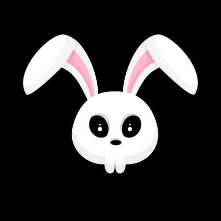Illustration pour Skull rabbit cartoon. Hallowleen concept design. Vector illustration isolated on black background. - image libre de droit