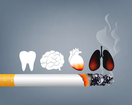 Illustration pour Stop smoking, World no tobacco day. Smoking is harmful to human organs. Resulting in organ damage and premature. Illustration. - image libre de droit