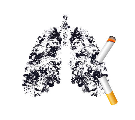 Illustration pour Stop smoking, Black lung concept. World no tobacco day. Smoking is harmful to human lung. Resulting in organ damage and premature. Illustration. - image libre de droit