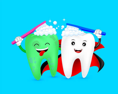 Illustration pour Halloween cartoon tooth character  brushing together. Count Dracula and zombie. Happy Halloween concept. Illustration on blue background. - image libre de droit