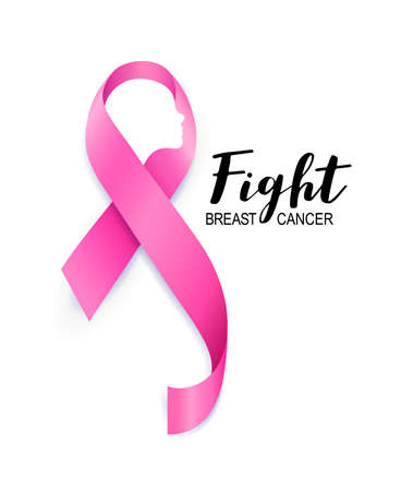 Illustration pour Woman face in pink ribbon. Breast Cancer Awareness Month Campaign. Fight cancer. Icon design for poster, banner, t-shirt. Illustration isolated on white background. - image libre de droit