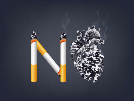 Illustration pour Cigarette with abstract black human heart. Stop smoking, World no tobacco day. Smoking is harmful to human organs. Resulting in organ damage and premature. Illustration. - image libre de droit