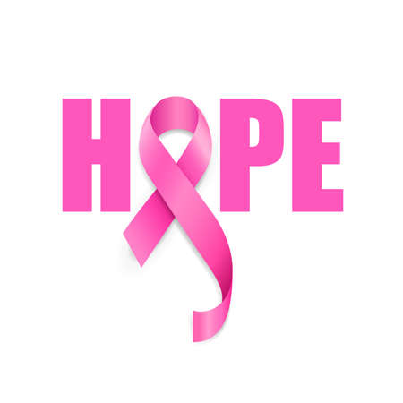 Illustration pour Hope lettering design with pink ribbon. Breast Cancer Awareness Month Campaign. For poster, banner and t-shirt. Vector Illustration isolated on white background. - image libre de droit