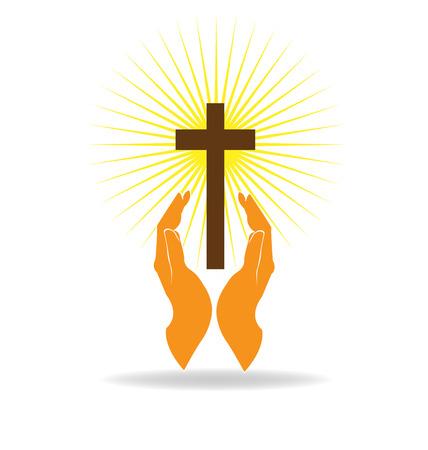 Illustration pour Faith hands vector - image libre de droit