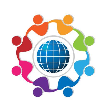 Teamwork people around world logo vector
