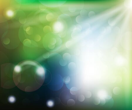 Illustration for Spring sun rays and bubbles bokeh vector illustration background web template - Royalty Free Image