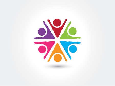 Illustration pour Logo teamwork unity business people colorful icon logotype vector web image design - image libre de droit