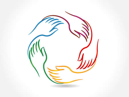 Illustration for Logo handshake teamwork business five people voluntary collaboration charity concepts vector icon image design - Royalty Free Image