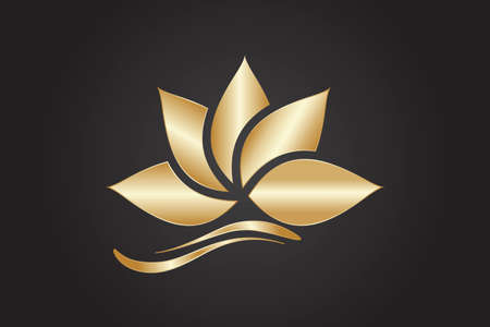 Illustration for Logo gold lotus flower beautiful luxury minimalistic vector image graphic illustration - Royalty Free Image