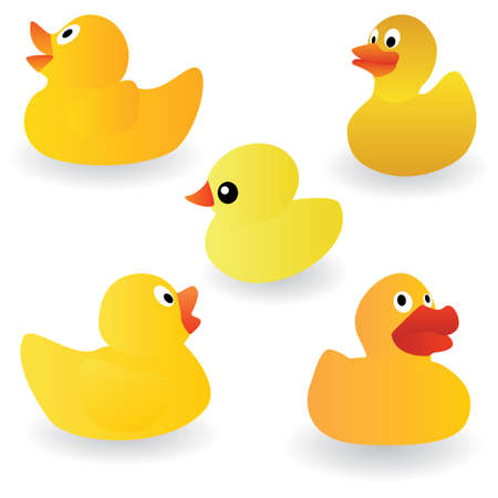 set of yellow rubber duck on the white background
