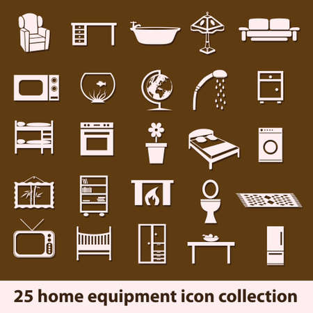 25 home equipment icon collection