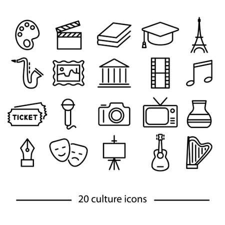 Ilustración de twenty culture line icons - Imagen libre de derechos