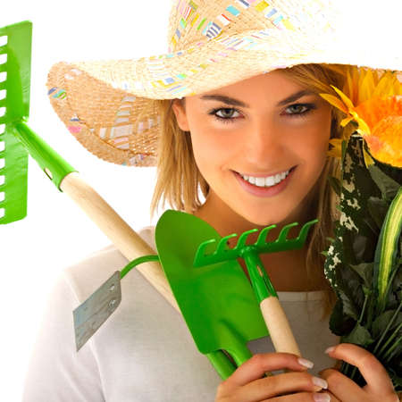 girl portrait with gardening tools