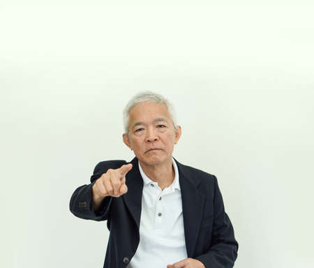 Photo pour Asian senior elder business owner man angry frustread stress for mistake and problem - image libre de droit