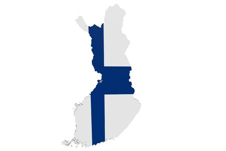 Map of Finland in the colors of the national flag