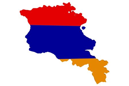 Map of Armenia in the colors of the national flag