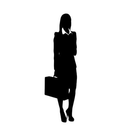 business woman black silhouette hold briefcase