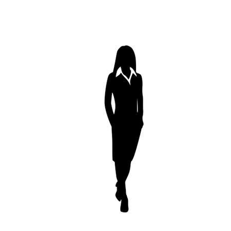 Illustration pour vector business woman black silhouette walk step forward - image libre de droit