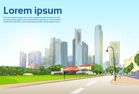 Road to Modern City View Skyscraper Cityscape Background with Copy Space Vector Illustration