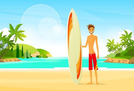 Ilustración de Surfer Man with Surfing Board Palm Tree Summer Holiday - Imagen libre de derechos