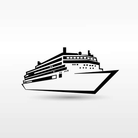 Cruise Ship Logo Black Icon Vector Illustration