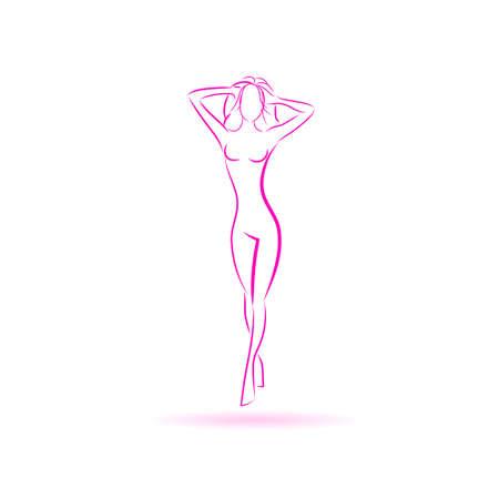 Illustration for Female Body Logo Pink Icon Vector Illustration - Royalty Free Image