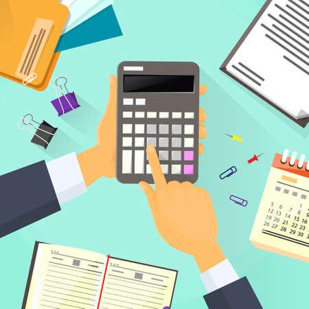 Calculator Business Man Hand Office Desk Accountant