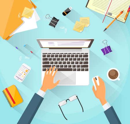 Illustration pour Businessman Workplace Desk Hands Working Laptop Flat - image libre de droit