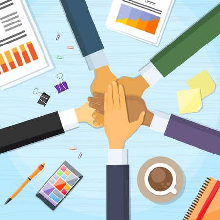 Illustration pour Business People Pile Hand Stack On Each Other - image libre de droit