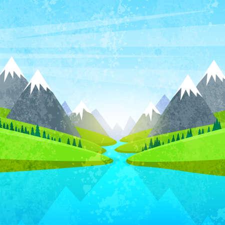 Illustration pour Mountain and River Landscape - image libre de droit