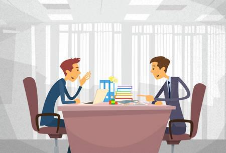 Illustration pour Two Business Man Talking Discussing, Businessmen Chat Sitting Office Desk Concept Communication Flat  - image libre de droit