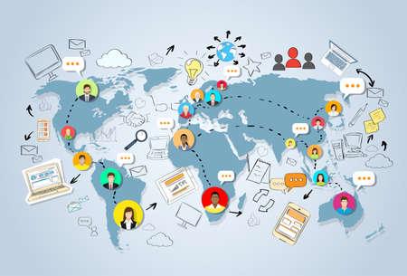 Social Media Communication World Map Concept Internet ...