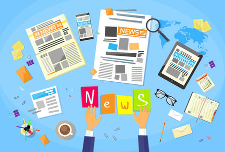 News Editor Desk Workspace, Concept Making Newspaper Creating Article Writing Journalists Flat Vector Illustration