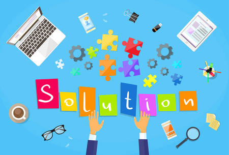 Illustration pour Business Man Hands Making Puzzle Desk Solution Concept Flat Vector Illustration - image libre de droit