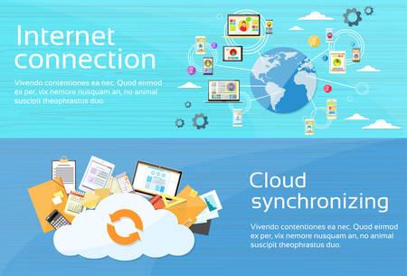 Internet Connection Cloud Synchronizing Computer Device Network Web Banner Set Flat Design Vector Illustration