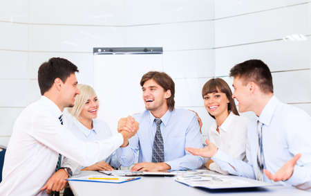 businesspeople group smile working office, business people