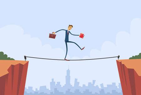 Businessman Walk Over Cliff Gap Mountain Business Man Balancing Wooden Stick Bridge Flat Vector Illustration