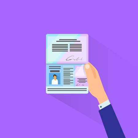 Passport Flat Icon Businessman Hand Hold Travel Identification Document Flat Vector Illustration