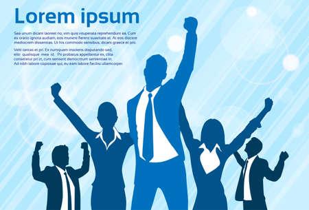 Business People Celebration Silhouette Hands Up, Businessmen Concept Winner Success Vector Illustration