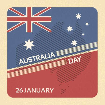 Vektor für Australia Day Flag National Banner Retro Card Vector Illustration - Lizenzfreies Bild