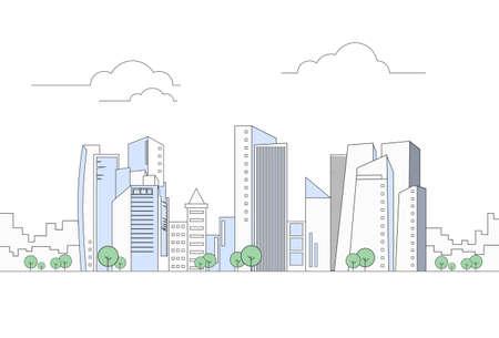 Illustration pour Modern City Megalopolis View Skyscraper Cityscape Vector Illustration - image libre de droit